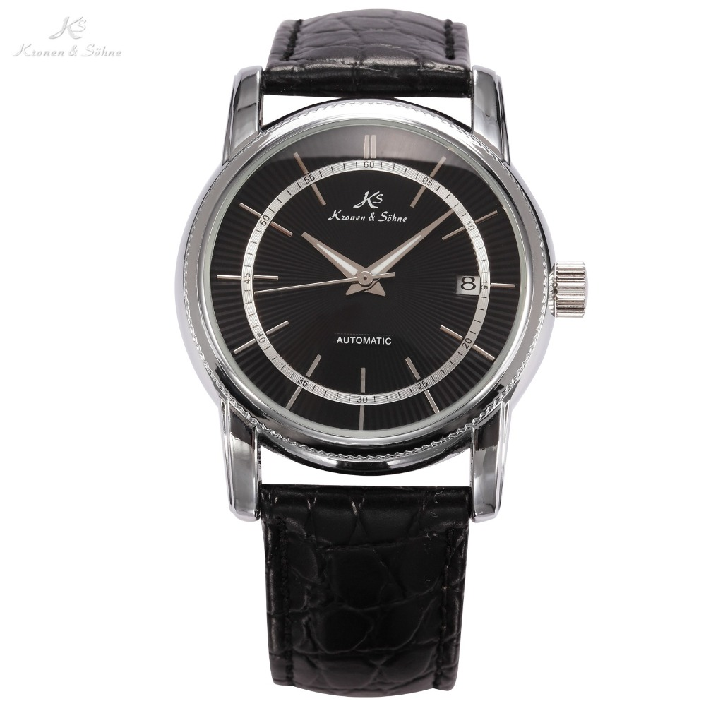 KS Black Dial Silver Stainless Steel Case Luminous Hands Automatic Mechanical Analog Leather Band Men Casual Watch Relogio/KS233 mce men s fashion stainless steel band analog mechanical watch black silver