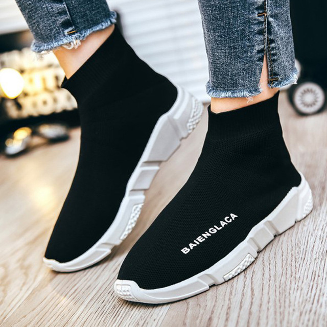 30f8f7b788876 2018 Women Flyknit Non-Leather Casual Shoes Fashion Sneakers Woman Flats  Platform Loafers Luxury Brand Design Best Sellers Style