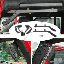 Black Top Mount Hardtop Grab Handle Bar Front Rear Interior Parts Aluminum Alloy For Jeep Wrangler 2007-2017 Car Styling