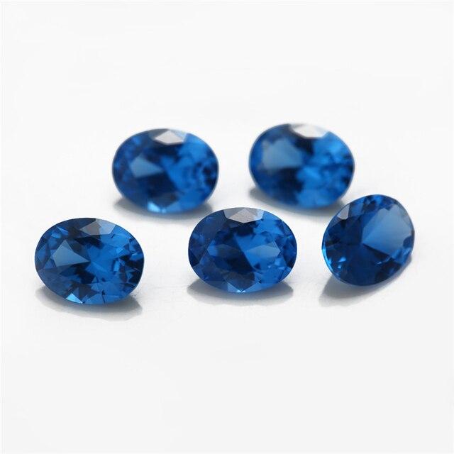 Размер 3x5 ~ 10x12 мм синий овальной формы синтетический шпинель