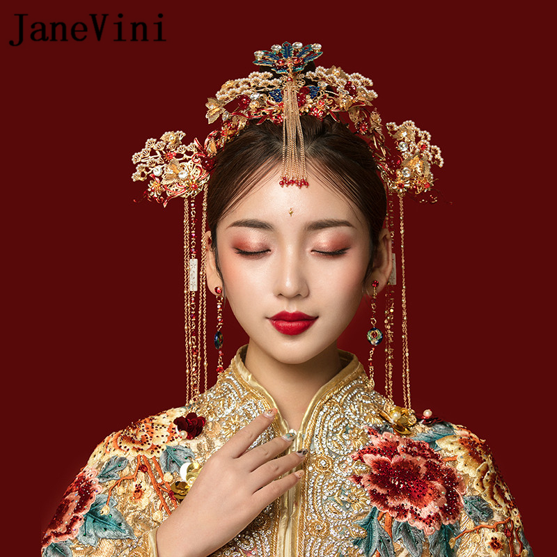 JaneVini traditionnel chinois Phoenix épingles à cheveux coiffure de mariée avec boucles d'oreilles or gland mariées bijoux de mariage accessoires de cheveux