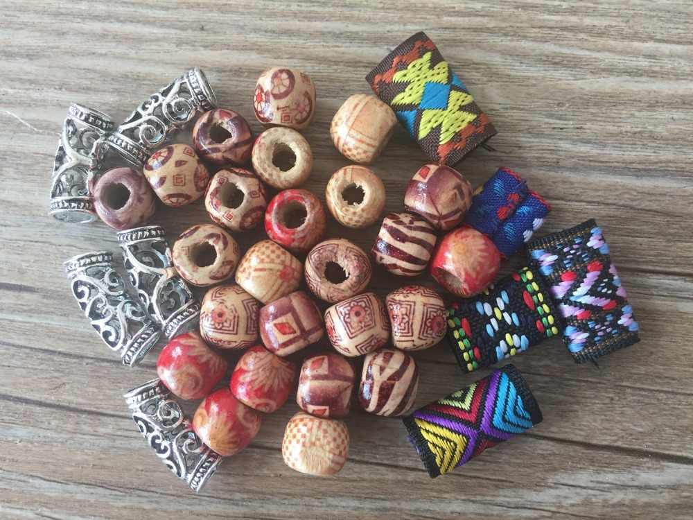 50 шт./партия тибетские серебряные деревянные тканевые бусины-трубки Dread Dreadlock смешанного дизайна