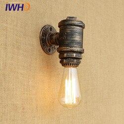 IWHD przemysłowe archiwalne doprowadziły ściana światło żelaza wodociąg RH Loft kinkiet Retro lampka nocna oprawy oświetlenia domu Iluminacion Pared