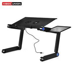 União mágica liga de alumínio portátil mesa dobrável notebook desktop suporte com ventilador refrigeração cama bandeja do portátil mesa estudo