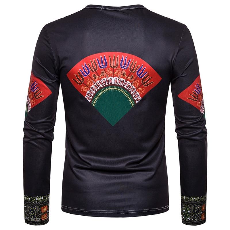 T shirt 2018 Men's Casual African Print O-Neck Pullover Long Sleeved T-shirt Top women t-shirt Dropshipping For Free Shipping (9)