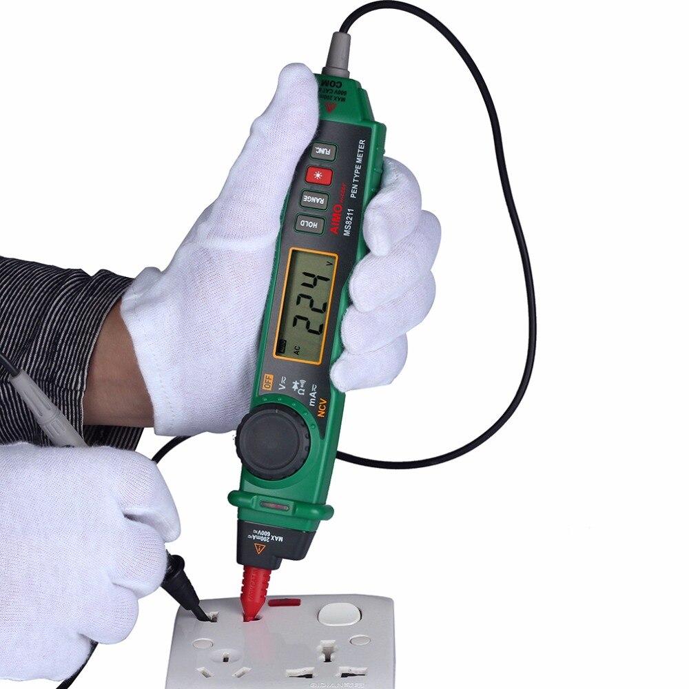 MS8211 Digital Pen Type Multimeter Multitester Handheld Meter DMM Non-contact Voltage NCV Detector  цены