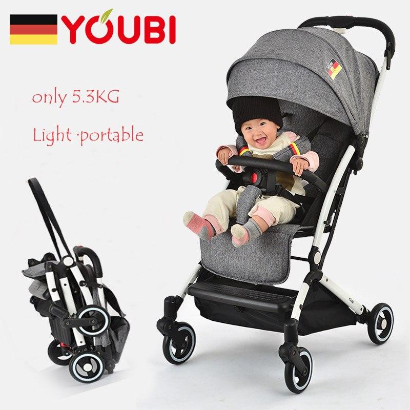 YOUBI Portable bébé poussette 5.3 KG léger voyage landau pliable assis et couché Mode poussette pour 0-3 ans enfants être dans l'avion