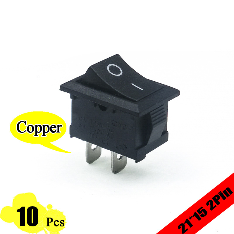 10pcs/lot 21*15 mm 2PIN Kcd1 Boat Rocker Switch SPST Snap-in ON/OFF Position Snap 6A/250V High Quality Copper Feet MINI