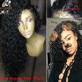 8A Brasileiro Profunda Encaracolado Cheia Do Laço Perucas de Cabelo Humano Rendas Frente Perucas com o Cabelo Do Bebê Cabelo Humano Virgem Peruca Cheia Do Laço para As Mulheres Negras