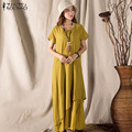 ZANZEA Mujeres 2016 Verano Vintage Cotton Linen Maxi Largo Vestido Retro Flojo Ocasional Del Cuello de O Vestido de Manga Corta Vestidos de Gran Tamaño