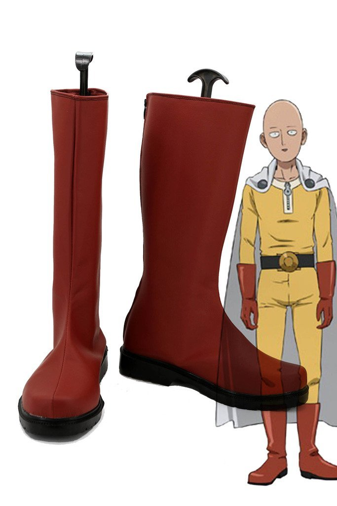 Anime un poinçon homme Caped Baldy Saitama Cosplay chaussures bottes rouges sur mesure