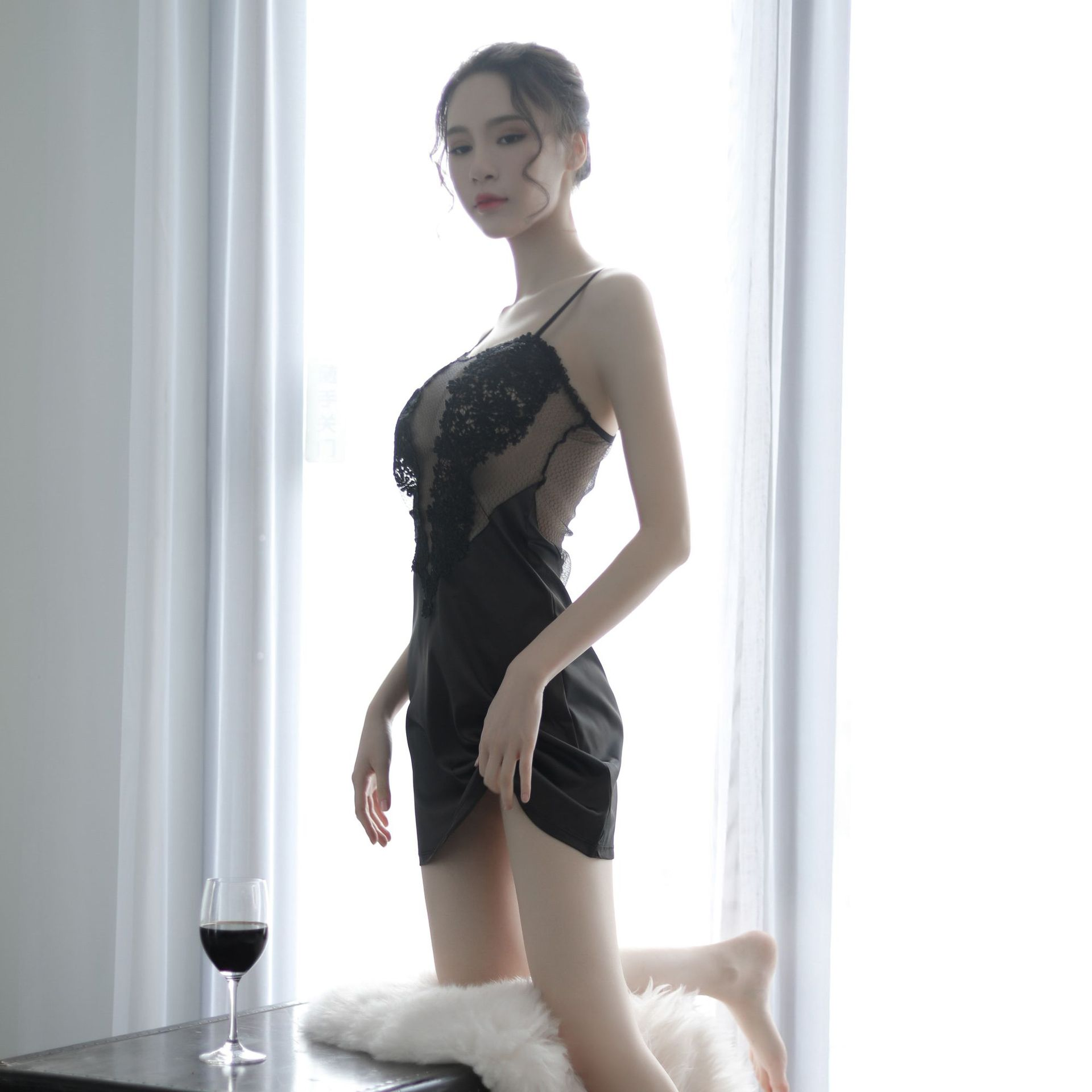 Kaguster Sexy sleepwear sik silk mujer dress Nightgown Nuisette dresses Women nightwear SEXI underdress satin Top Lace shirt in Dresses from Women 39 s Clothing