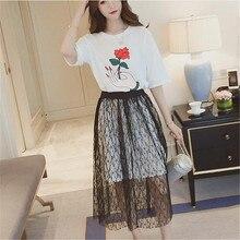 купить!  Летние новые женские платья + сексуальная кружевная юбка женщин два набора pice Plus 4xl с розой кра Лучший