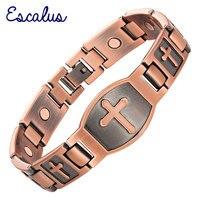 2016 Men Cross Pattern Antique Copper Magnetic Bracelet Christian Bangle Jewelry Jesus Christ Gift Free Shipping