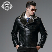 Autumn winter new pilot leather jacket men's clothing brand fashion fur one piece motorcycle PU outerwear cotton-padded / M-XXL