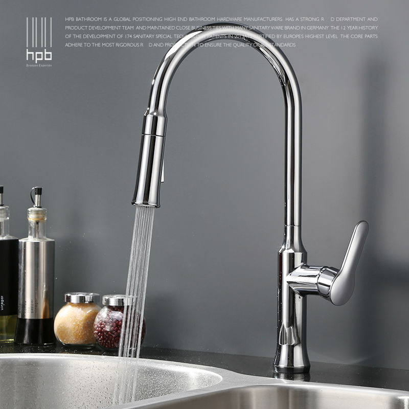 HPB Brass Chrome Pull Out Spray Rotary Deck Mounted Hot And Cold Water Kitchen Mixer Tap Pb-free Sink Faucet Single Hole HP4110 hpb brass pull out spray rotary brushed kitchen faucet sink mixer tap single handle deck mounted hot and cold water hp4114