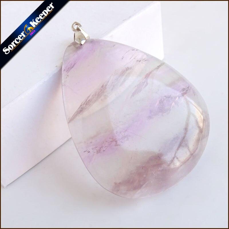 Natural Rainbow & Green Mineral Fluorite Polished Pendant DIY Women's Colorful Quartz Crystal Necklace Specimen Healing QS623