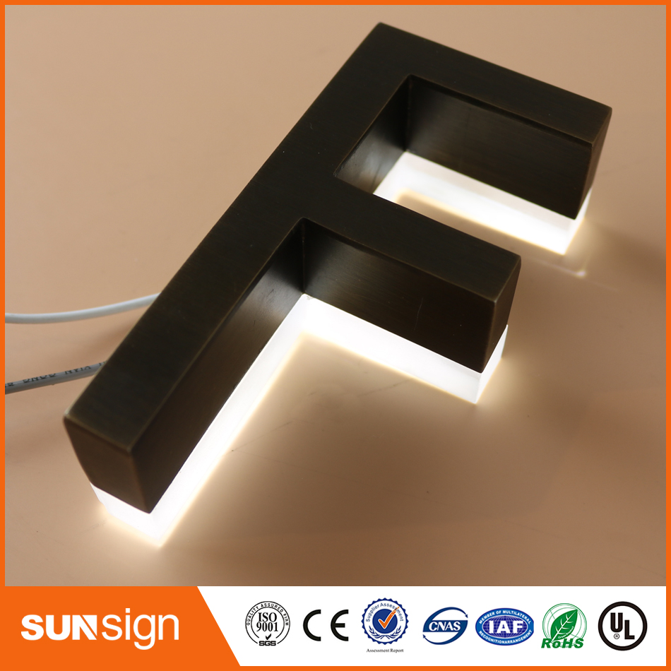 Factory Outlet Stainless Steel Led Backlit Channel Letter Sign Lustrous Surface