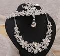 Crystal Bridal Tiara Crown Rhinestone Accesorios de Boda Joyería Nupcial Conjuntos de Collar de Lujo de Diseño de La Mariposa