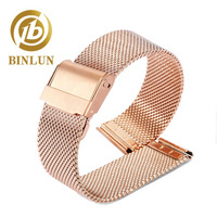 BINLUN 16mm 18mm 20mm 22mm Universal Milanese Watchband Quick Release Watch Band Mesh Stainless Steel Strap Wrist Belt Bracelet