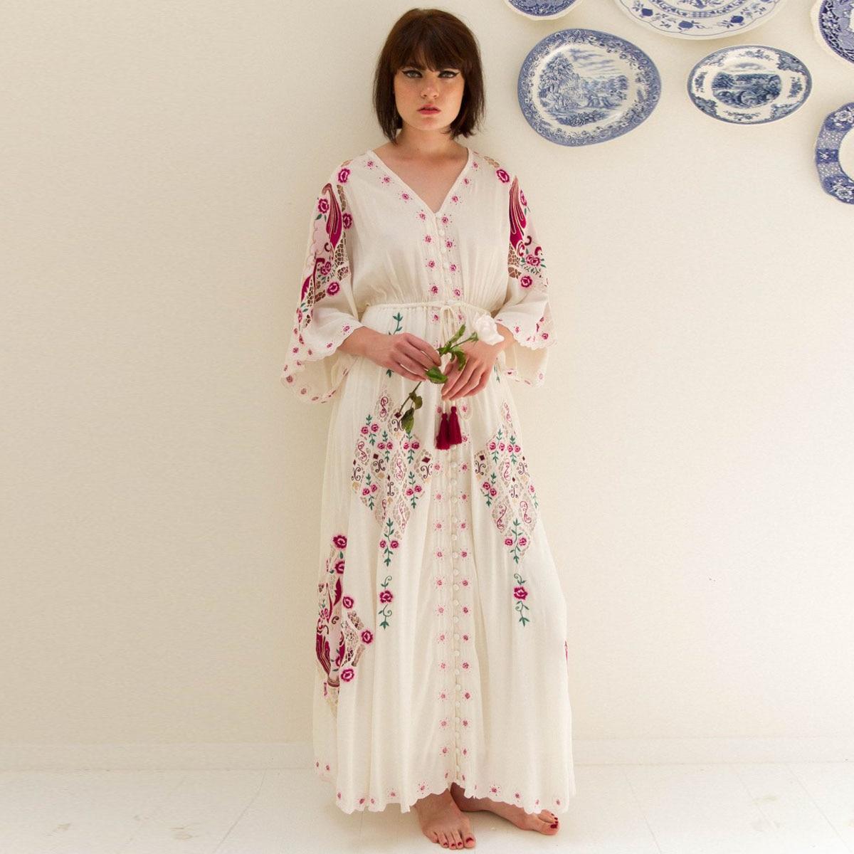 d90069c1811dc US $54.89 37% OFF|Jastie Floral Embroidered Boho Dress V Neck Batwing  Sleeve Women Dresses Loose Plus Size Long Maxi Dress Summer Dresses  Vestidos-in ...