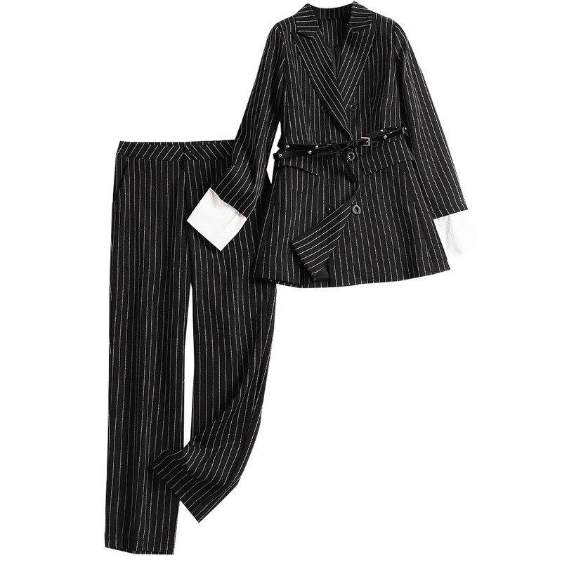Printemps 10410 Veste down De Costume Unique Poitrine Conjunto Rayé Formelle Ensemble Deux Shuchan Collar Pantalon Pièces Feminino Turn 2019 Noir Tq4xnUg