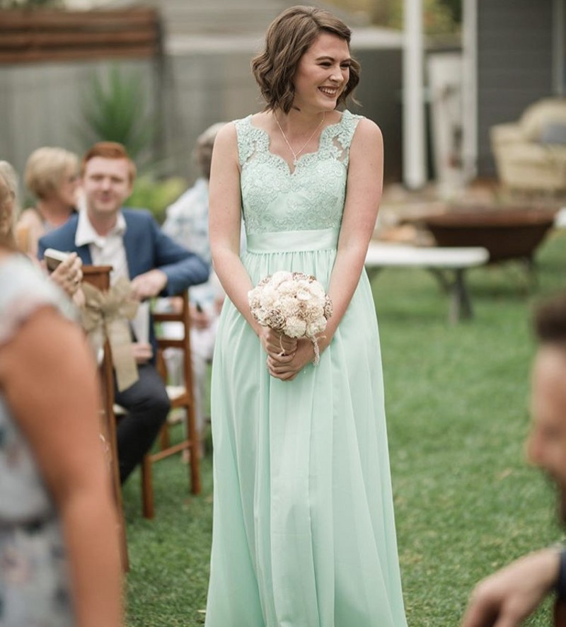 Mint Green V-Neck Sleeveless Floor Length A-Line Lace Applique Chiffon   Bridesmaid     Dresses   Chiffon Court Train   Bridesmaid   Gown