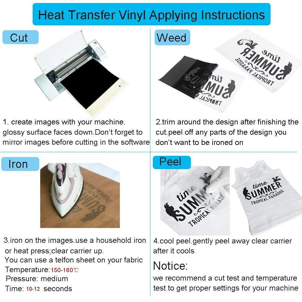 Heat transfer glitter vinyl 10*12 inch 7 sheets transfer vinyl iron