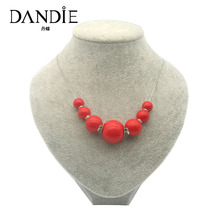 Dandie Acrylic Bead Necklace, Simple Design Womens Trendy Jewelry Necklace Accessory 2018