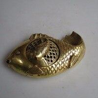 Largo: 18 CM Colección de Arte Chino de Bronce Estilo Peces Quemador de Incienso/Incensario de Metal Envío Gratis