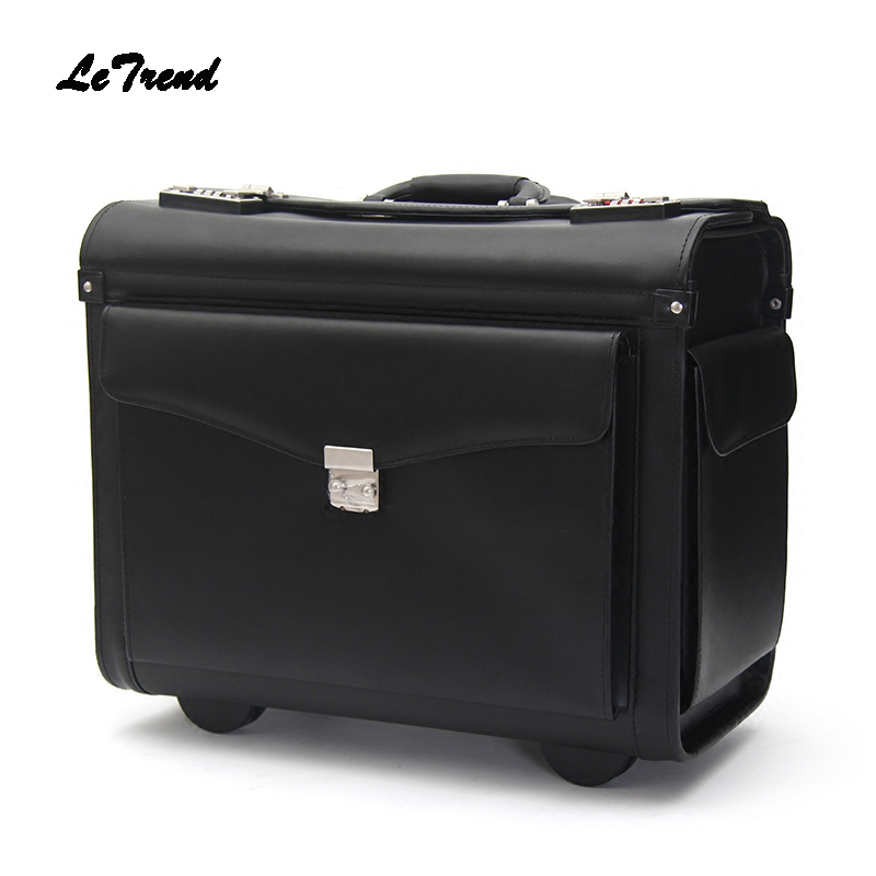 Letrend Genuine Leather Pilot Rolling Luggage Casters Cabin Wheel Suitcases Captain Travel Bag 18 inch Business Carry On Trolley free shipping original rolling wheel axis kit parrot minidrones rolling spider parts genuine