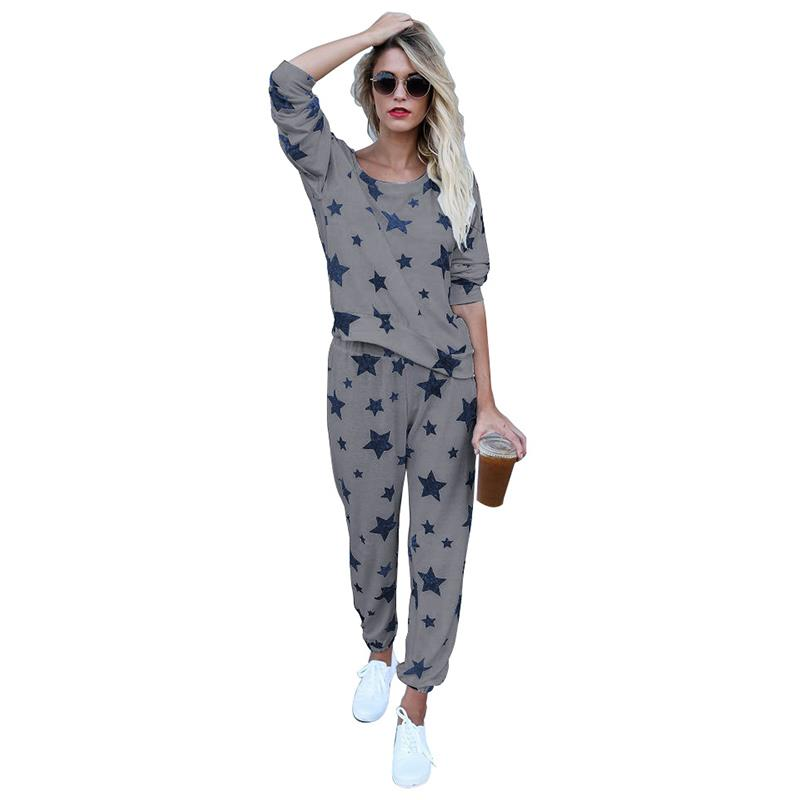 Autumn Fashion Women Tracksuits Two Piece Set Star Printed Outfit Ladies Causal Tops And ...