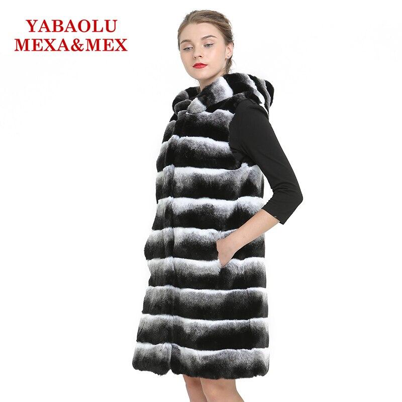Chaud Long Veste Gilet Femmes Ardoisé Hué Faux Vestes Vêtements Rex Pardessus De Fourrure Lapin Un Manteau 8WURPAx