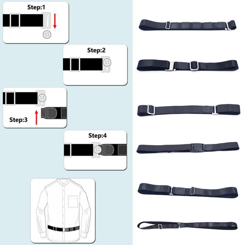 Fashion Shirt Holder Adjustable Near Shirt Stay Best Tuck It Belt For Women Men Work Interview Unisex Accessories 120cm Black