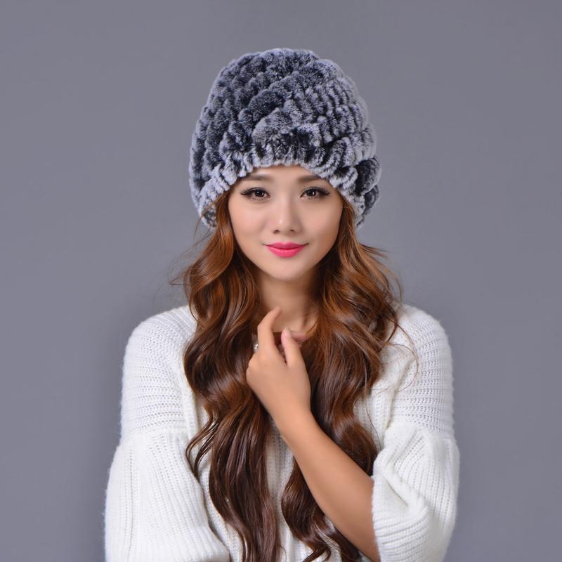 Winter Rabbit Fur Hats for Girls Skull Cap   Skullies     Beanies   Women Hat Warm Knitted Caps Fur Casual Cute Female Cap Lady Hats