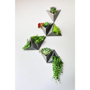 Image 5 - Triângulo forma de parede pendurado cimento flowerpot silicone molde de silicone pote de concreto moldes para decorações de casa s9035