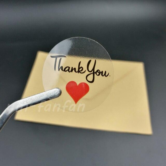 100 Stucke Runde Transparente Danke Mit Rotes Herz Aufkleber