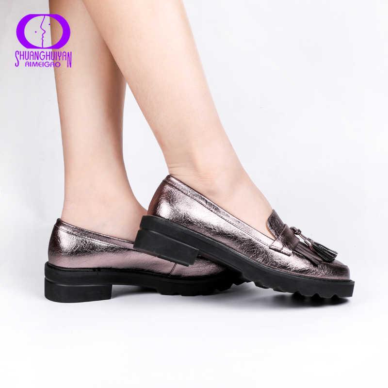 Aimeigao Mùa Xuân, Mùa Thu Tua Rua Giày Oxford Nữ Nền Tảng Giày Slip-On Nữ 2019 Sáng Bóng Mũi Tròn Da Thật Giày Đế Bằng giày
