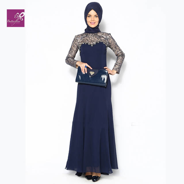 Muslim Navy Blue Evening Dresses 2015 Long Sleeve Lace Chiffon Dinner Gowns Formal Evening Dress Vestidos De Festa