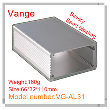 2pcs/lot silvery sand blasting aluminum customized enclosure industry 6063-T5 aluminum box 66*32*110mm for mixer device