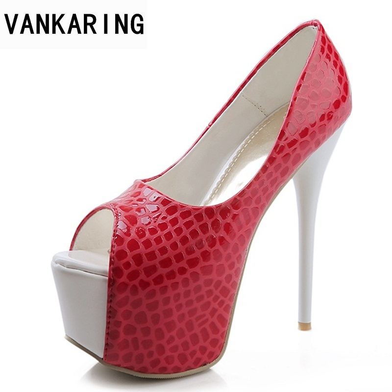 VANKARING new spring summer fashion 2018 fish mouth red sexy super high heel gladiator women sandals party dress ladies shoes