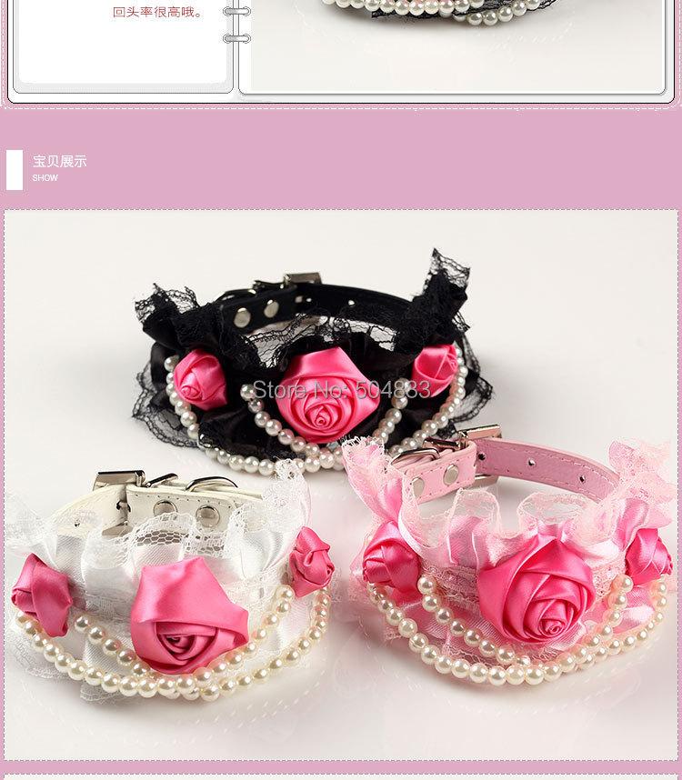 3 Цветы Кружева ошейник собаки роскошный жемчуг кошка ошейник для домашних животных ПУ кожа Черный Розовый Белый s m