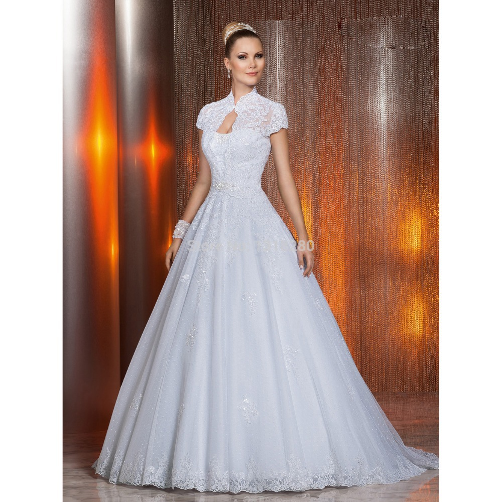Bolero For Wedding Gown: W110 Romantic Ball Gown Bridal Gown With High Neck Bolero