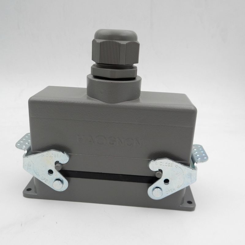 HDC-HE-024-2 Heavy Load Connector Rectangle Plug 24 Core 16A Aviation Plug Top Outlet heavy duty connectors hdc he 024 1 f m 24pin industrial rectangular aviation connector plug 16a 500v