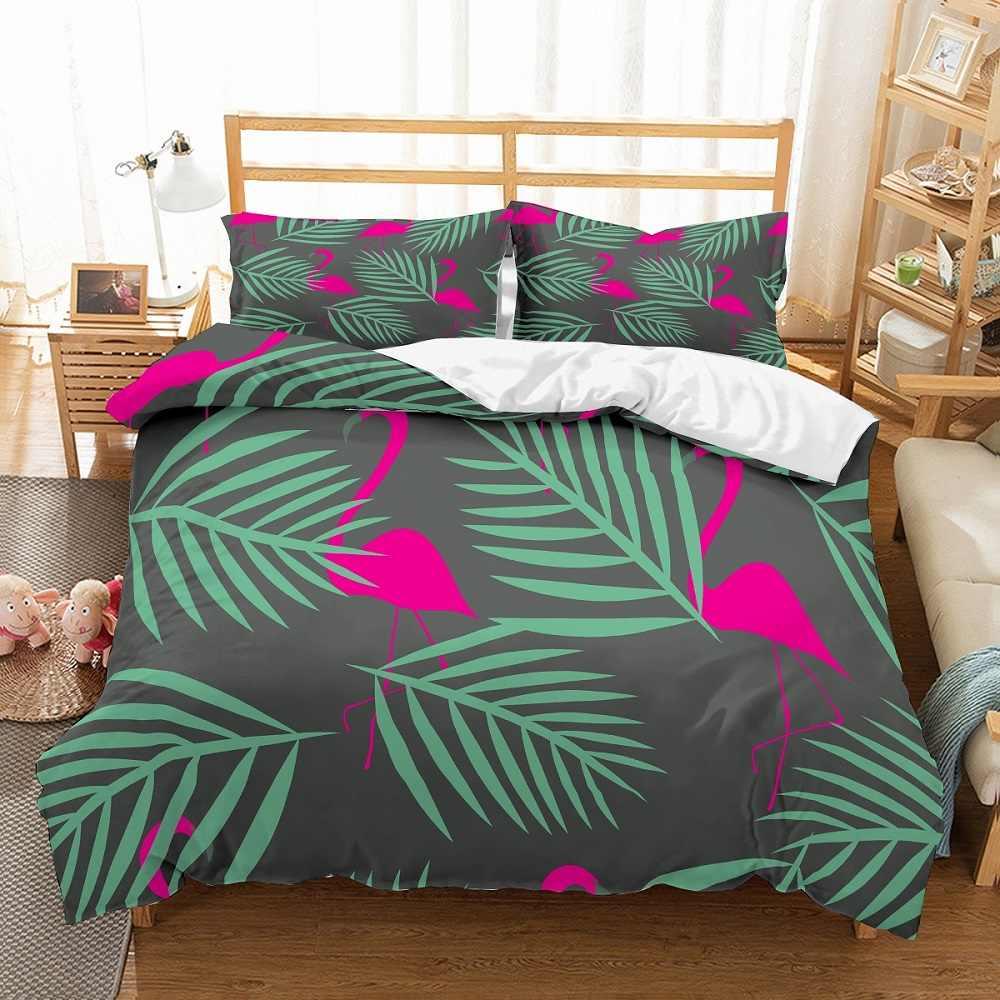 الوردي طيور النحام المفرش الشمال نمط الأخضر يترك طباعة لينة غطاء السرير المخدة واحدة مزدوجة كاملة الملكة الملك الحجم الفراش