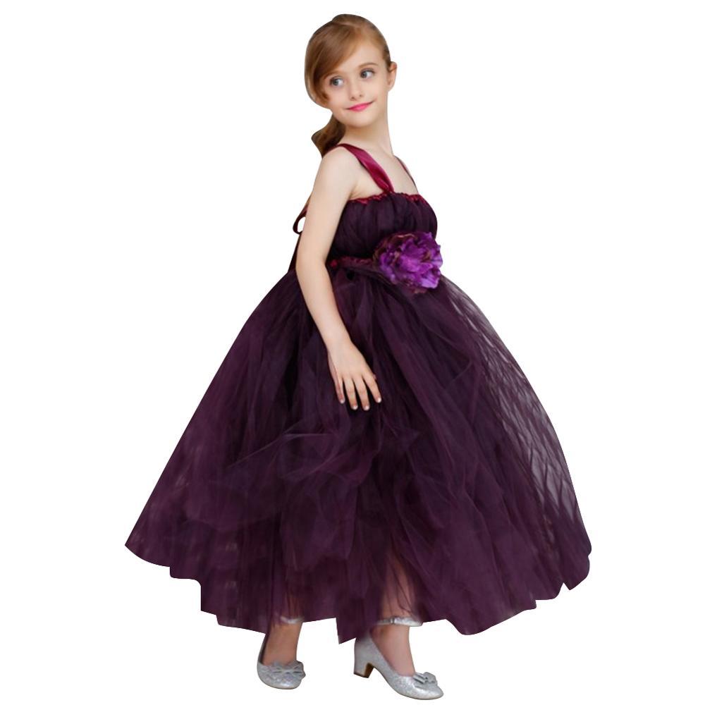 Fille robe fête fleur princesse robe formelle de mariage maille robe de fronde longues robes d'anniversaire pour les filles enfants 3-12 ans