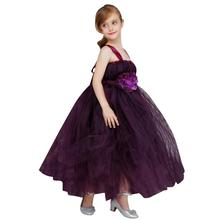 Girl Dress Party Flower Princess Dress Formal Wedding Mesh Sling Dress Long Birthday Dresses For Girls Children 3-12 years недорого