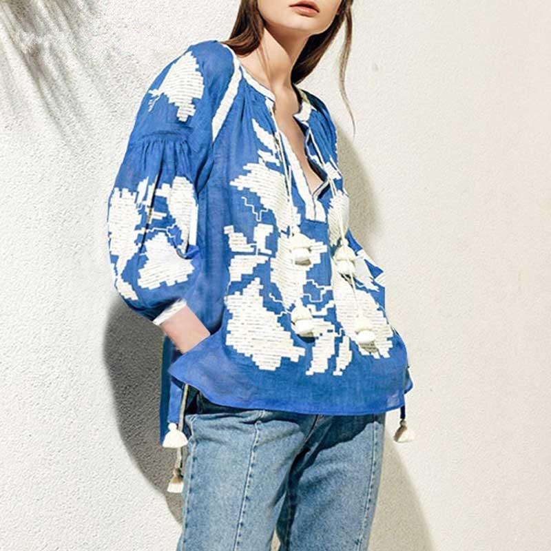2018 Blusas Rose Embroidered Blouse Long Lantern Sleeve V Neck Tassels Linen Tops Women Chic Ukraine Blouses Shirts