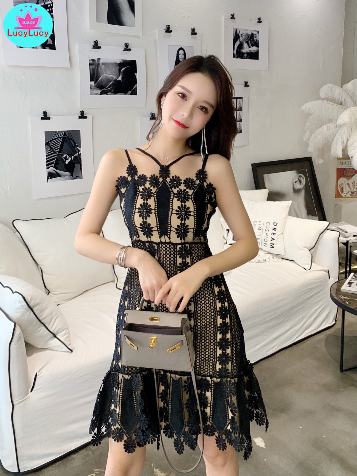 2019 summer Korean version of the new water soluble flower stitching Slim thin cross strap lace dress Zippers Spaghetti Strap in Dresses from Women 39 s Clothing