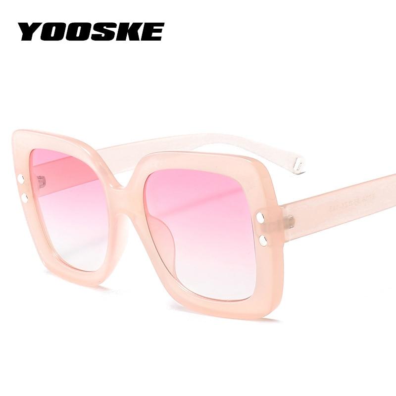 YOOSKE Vintage Oversized Sunglasses Women Luxury Brand Designer Transparent Gradient Lens Sun Glasses Big Frame Eyewear UV400